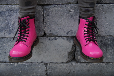 Nice pink alternative girl or woman Military skinhead shoes - sitting tough