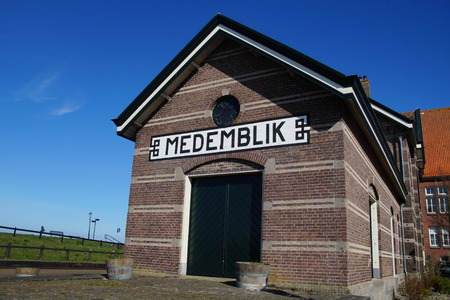 hoorn: Medemblik, Noord-Holland, The Netherlands - March 22, 2015: Steam train termini railway station between the towns of Hoorn, Medemblik and Enkhuizen.