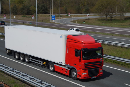 Unmarked DAF XF truck trailer combination Editorial