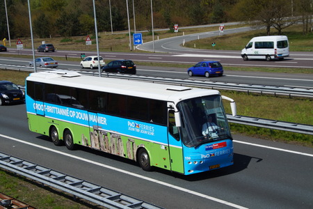 PO Ferries Dutch bus on highway A1 Editorial