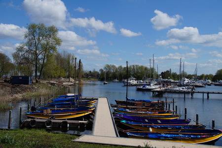 girl scout: Boats of Dutch Sea Scouts lying at rest in de harbor of Naarden