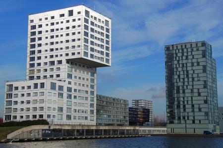 silverline: Modern Apartment building cityscape skyline or Almere Editorial