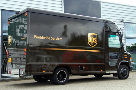 delivery service: UPS Postal Delevery Truck Mercedes
