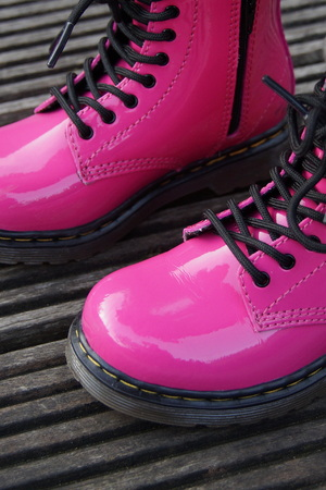 skinhead: Nice pink punk alternative girl or woman Military skinhead boots