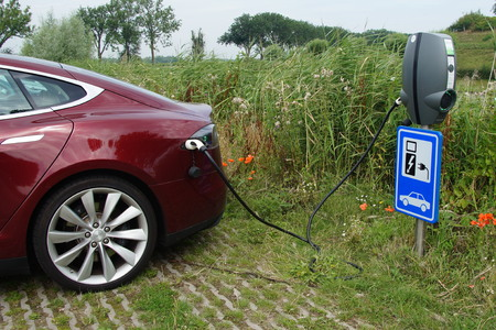 breaking new ground: Tesla Model S being charged