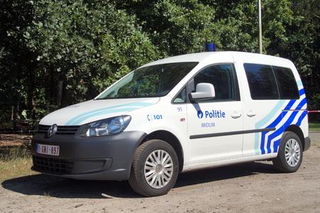 Belgian Police Car K-9 unit dog handler Belgian police car Editorial