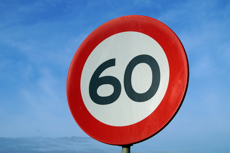 60: Only 60 Road Sign - Age of sixty - right Stock Photo