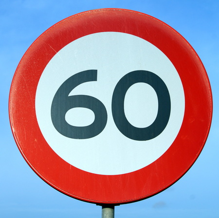 age 60: Only 60 Road Sign - Age of sixty - center