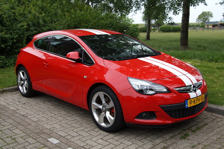 german culture: Red Opel Astra GTC