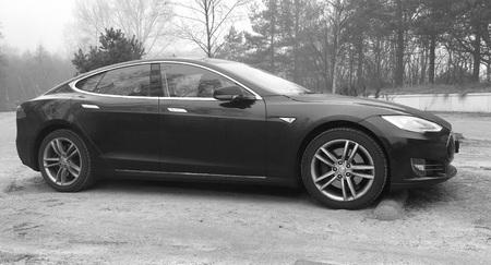 Black Tesla Model S - black and white