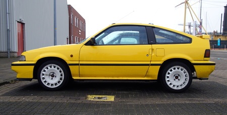 Yellow Honda Civic Coupe CRX