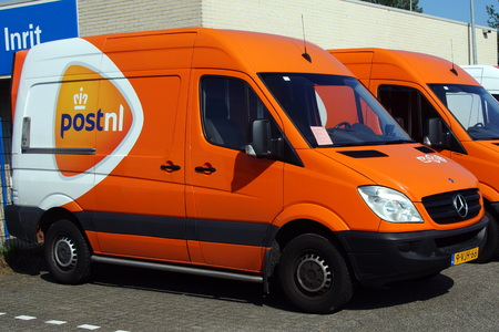 PostNL delivery truck Editorial