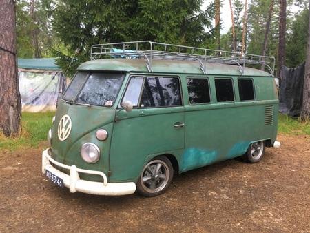 Green Volkswagen (VW) Transporter Type 1 Camper