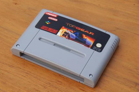 Super Nintendo Entertainment System (SNES) game cartridge or Top Gear. Editorial