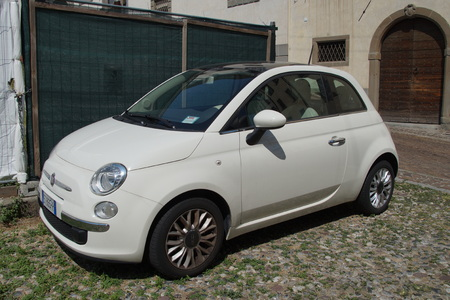 View of a white color Fiat 500