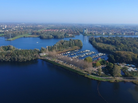 Aerial (drone) shot harbor in the city of Almere