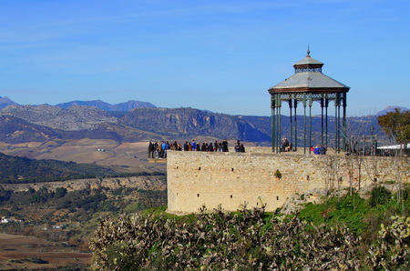 tourists standing on a viewpoint at Alameda del Tajo, Spain Stock Photo