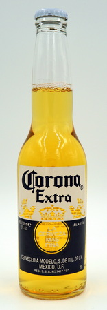Bottle of Corona Extra. Corona is a Pale Lower styled bear with is brewed by México DF, Mexico.