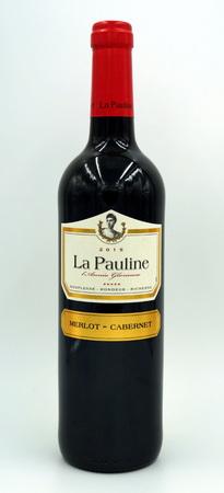Bottle of La Pauline merlot cabernet red wine.