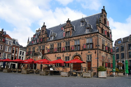 Historic Dutch weigh house or weighing house (de Waagh), on the central square in city center of Nijmegen. The weigh house was build in 1612.