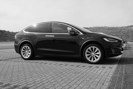 Tesla Model X (black and white) Editorial