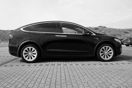 Tesla Model X side view (black and white)