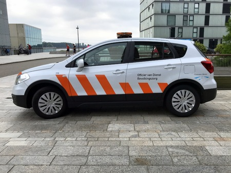Almere, Netherlands - June 10, 2018: Suzuki SX4 S-Cross from the officer of duty charged with population service (Dutch: public service officer)