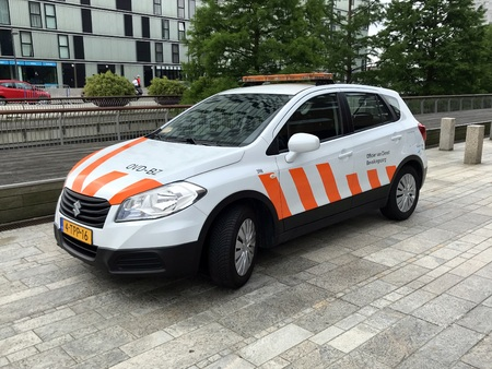 Almere, Netherlands - June 10, 2018: Suzuki SX4 S-Cross from the officer of duty charged with population service (Dutch: public service official).