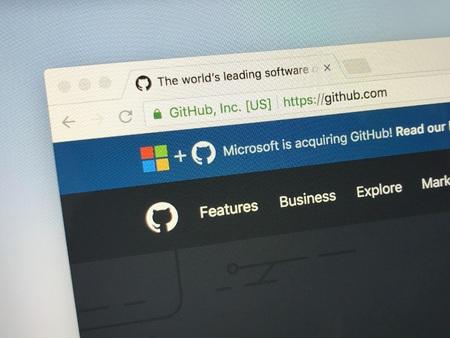 Amsterdam, Netherlands - June 4, 2018: Website of GitHub Inc. announcing Microsoft inquiring github.