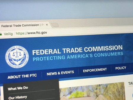 Amsterdam, Netherlands - June 1, 2018: Website of The Federal Trade Commission, FTC. This United States government agency mission is consumer protection.