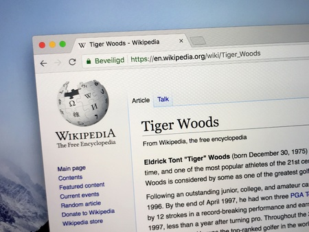 Amsterdam, the Netherlands - August 24, 2018: Wikipedia page about Tiger Woods.