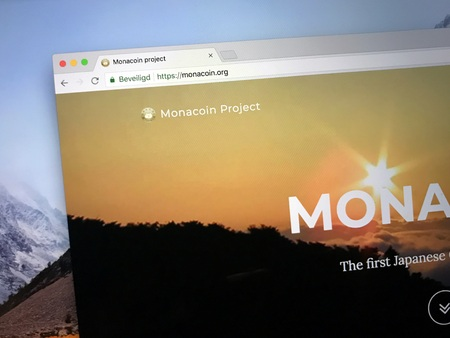Amsterdam, the Netherlands - August 30, 2018: Website of MonaCoin (MONA), a Japanese digital cryptocurrency token Editorial