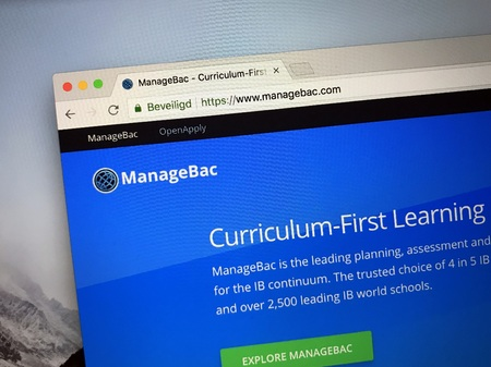 Amsterdam, the Netherlands - August 30, 2018: Website of ManageBac, a online learning platform. Editorial