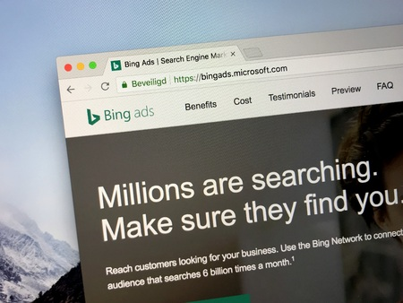 Amsterdam, the Netherlands - August 30, 2018: Website of Bing Ads, a service that provides pay per click advertising on both the Bing and Yahoo! search engines. Editorial