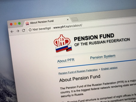 Amsterdam, the Netherlands - August 29, 2018: English Website of Pension Fund of the Russian Federation, the principal national pension fund in Russia. Редакционное