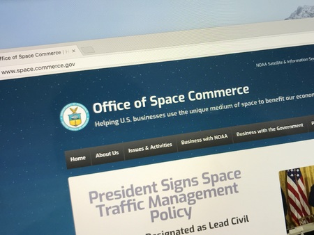 Amsterdam, the Netherlands - August 6, 2018: Website of The United States Office of Space Commerce.