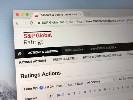 Amsterdam, Netherlands - June 1, 2018: Website of The Standard & Poor's 500, often abbreviated as the S & P 500, or just the S & P, an American stock market index.