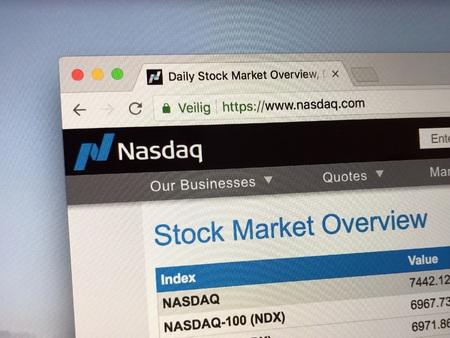Amsterdam, Netherlands - June 1, 2018: Website The Nasdaq Stock Market.