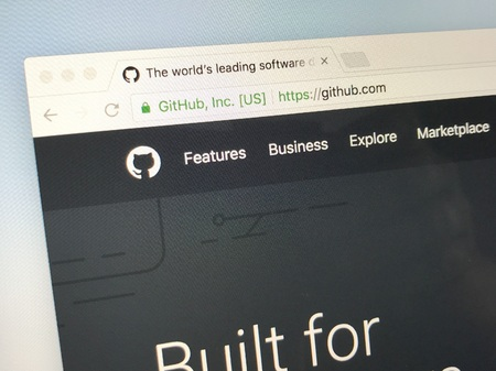 Amsterdam, Netherlands - June 4, 2018: Website of GitHub Inc., a web-based hosting service. GitHub has been acquired by Microsoft.