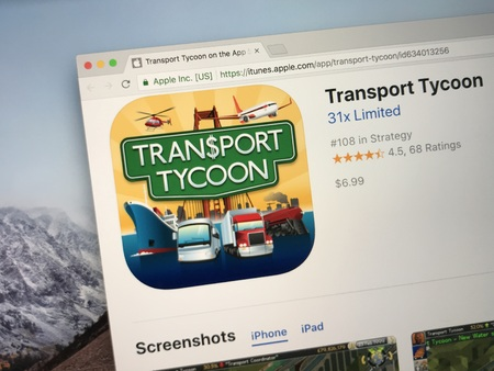 Amsterdam, the Netherlands - September 15, 2018: iTunes website selling Transport Tycoon, a business simulation game.
