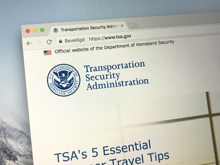 Amsterdam, Netherlands - June 14, 2018: Official American government law enforcement agency website of the Transportation Security Administration or TSA.