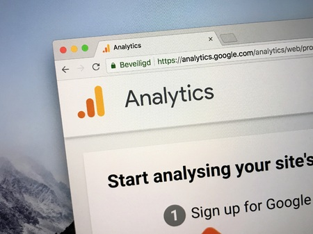 Amsterdam, the Netherlands - September 9, 2018: Website or Google Analytics, a freemium web analytics service for measuring, tracking and reporting website traffic.