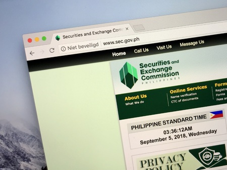 Amsterdam, the Netherlands - September 4, 2018: Website of the Philippines Securities and Exchange Commission or SEC.