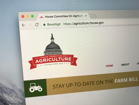 Amsterdam, the Netherlands - July 18, 2018: Website of The US House Committee on Agriculture or Agriculture Committee. Editorial