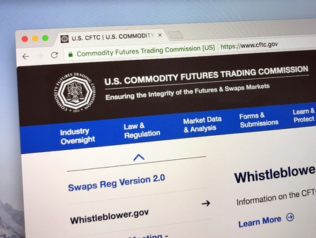 Amsterdam, the Netherlands - July 7, 2018: Official website of The US Commodity Futures Trading Commission or CFTC.