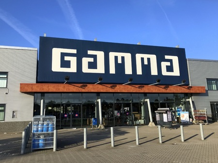 Almere, Netherlands - October 5, 2018: Entrance of Dutch Hardware store-chain Gamma.