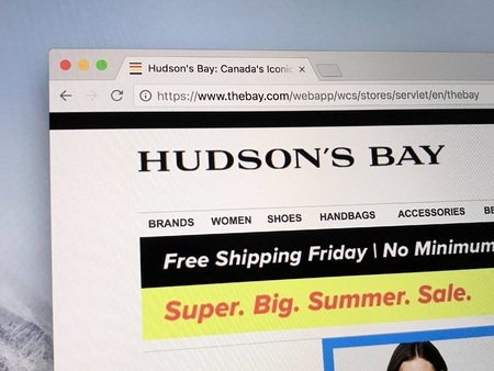 Amsterdam, the Netherlands - June 22, 2018: Website of The Hudsons Bay Company, a Canadian retail business group. Editorial
