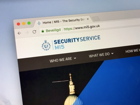 Amsterdam, the Netherlands - June 18, 2018: Website of The Security Service, also MI5 (Military Intelligence, Section 5)