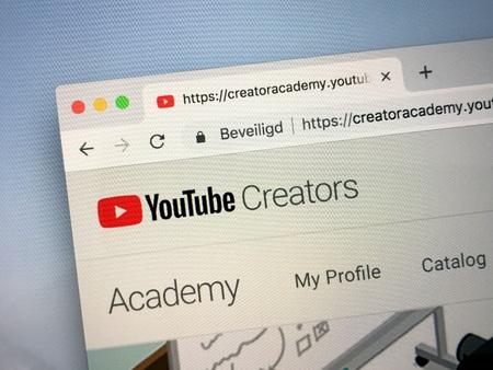 Amsterdam, Netherlands - October 12, 2018: Website of YouTube Creators. Editorial