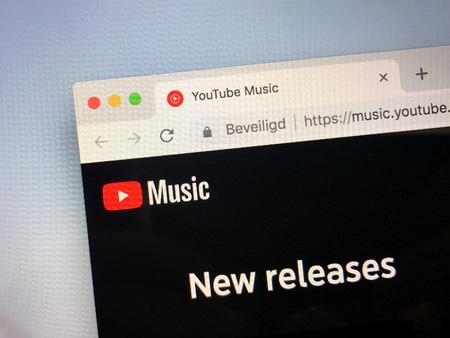 Amsterdam, Netherlands - October 12, 2018: Website of YouTube Music.